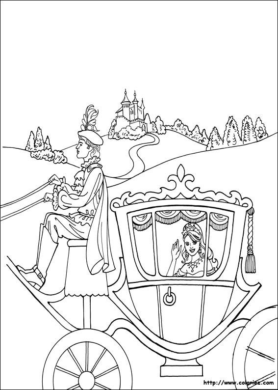 dessin à colorier carrosse cendrillon