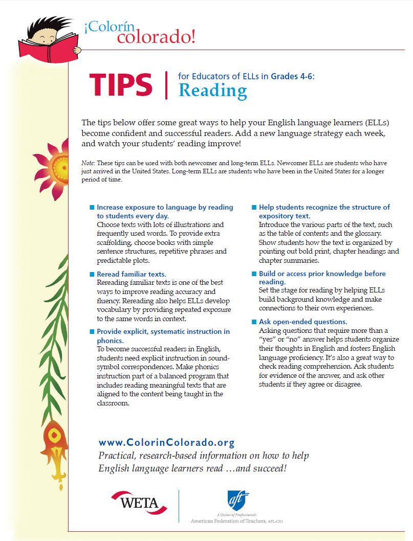 medium resolution of Reading Tip Sheets for Educators   Colorín Colorado