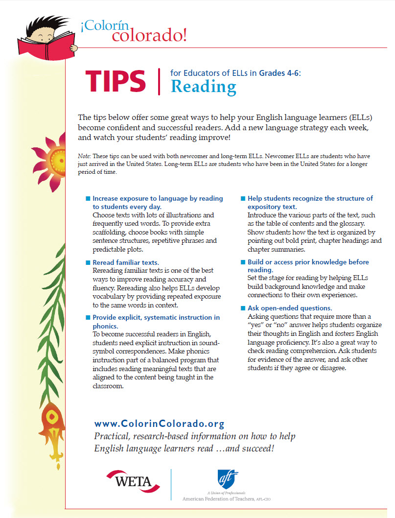 hight resolution of Reading Tip Sheets for Educators   Colorín Colorado