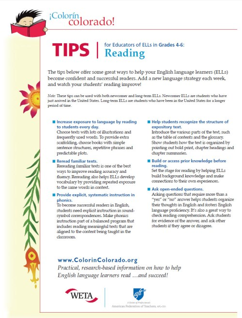 small resolution of Reading Tip Sheets for Educators   Colorín Colorado