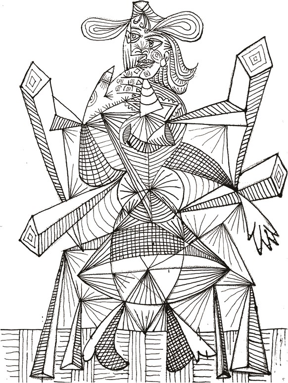 Ausmalen als Anti-Stress Picasso  Siebdruck Picasso 8