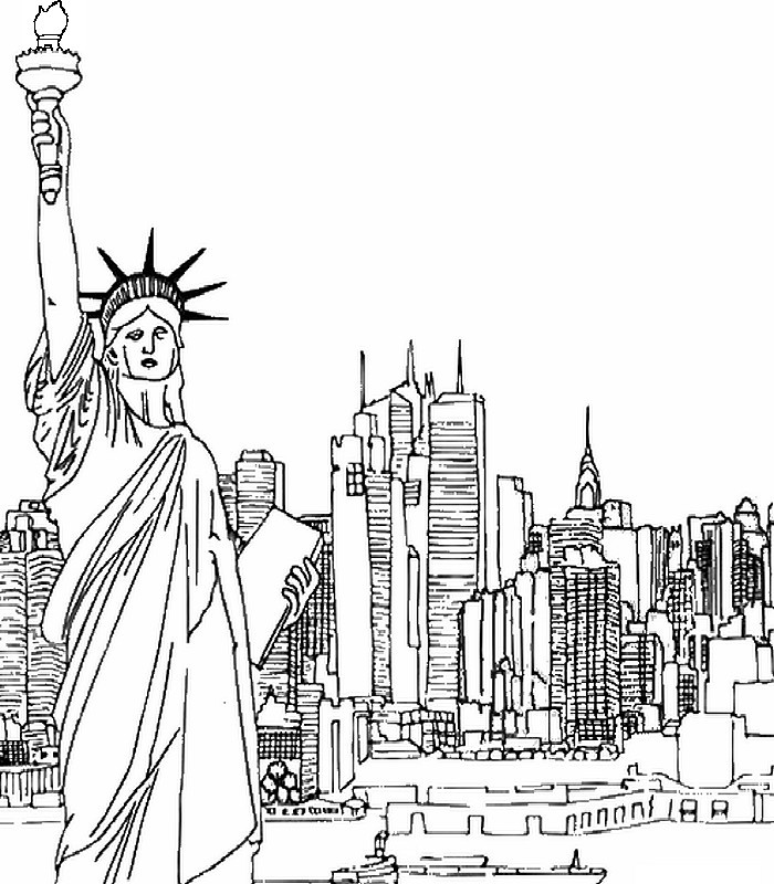 Art Therapy coloring page new-york : New-York and Statue
