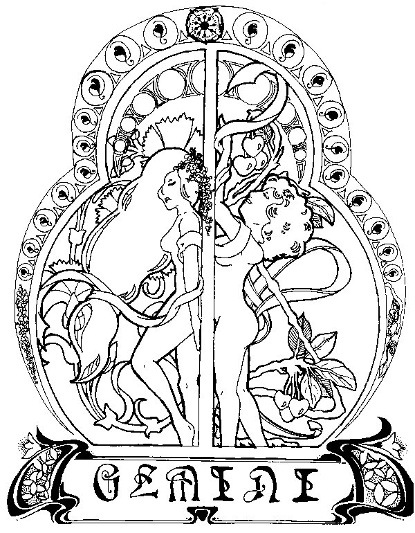 Art Therapy coloring page astrology : Gemini 6