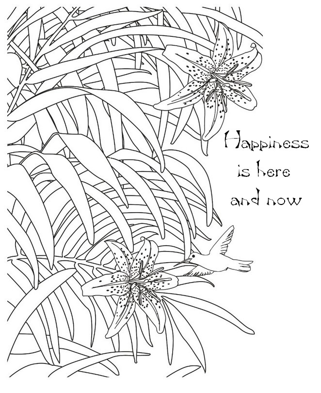 Art Therapy coloring page zen quotes : Happiness is here