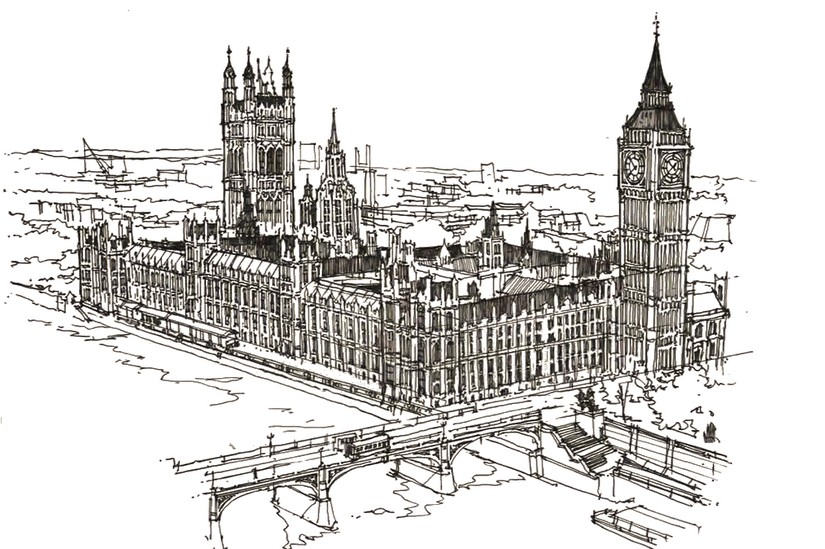 Art Therapy coloring page London : Westminster and Big Ben 12