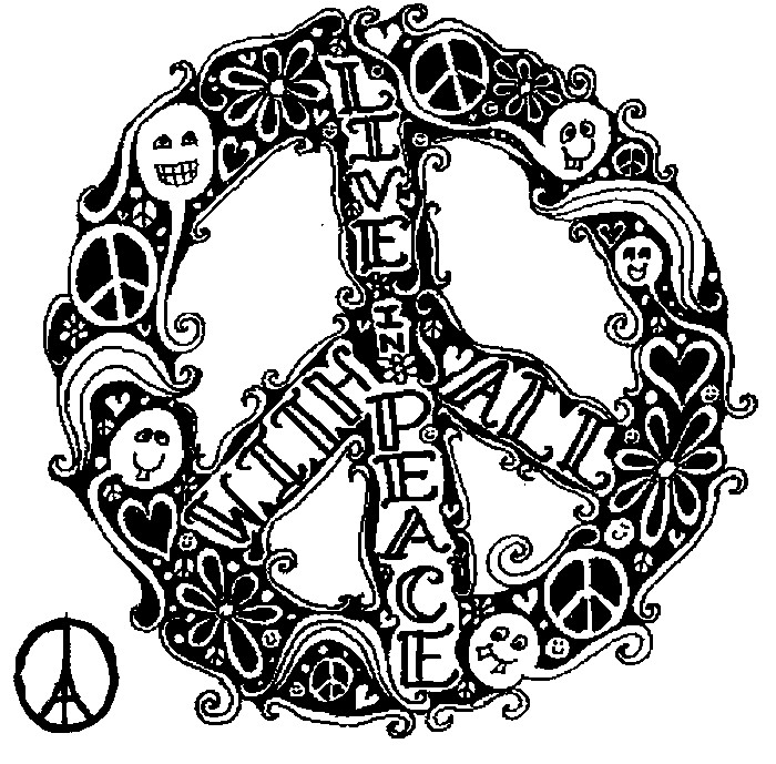 Art Therapy coloring page Peace for Paris : Live in peace