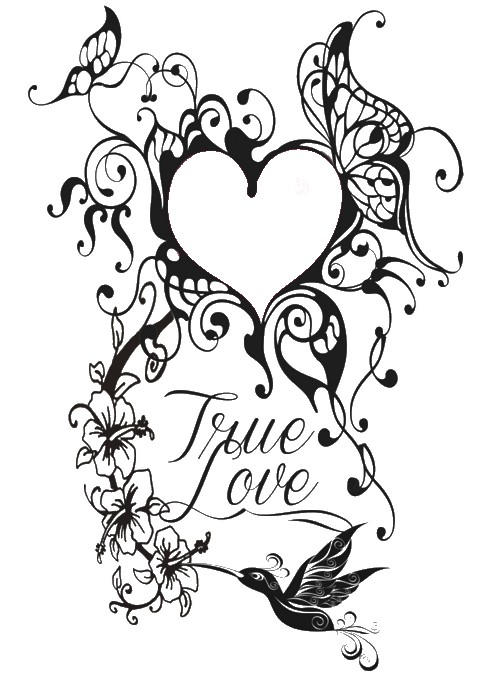 Art Therapy coloring page Valentine's Day : Tattoo heart 7