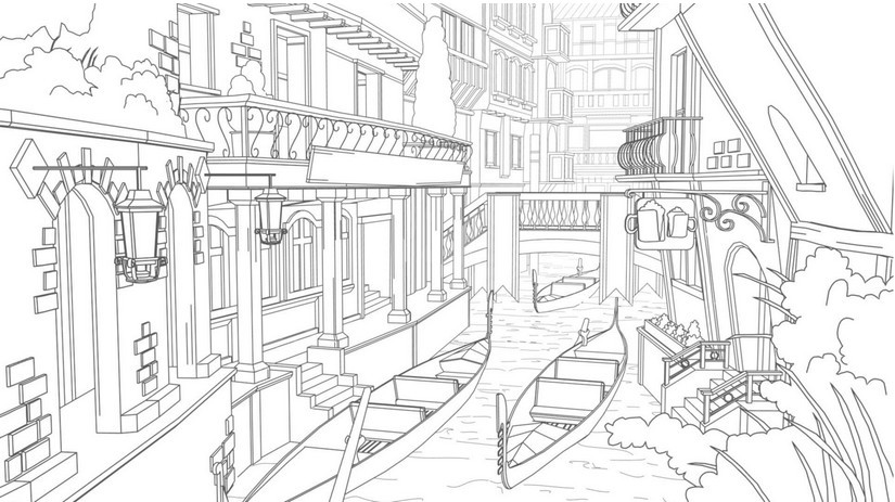 Art Therapy coloring page Italy : Gondolas in Venice 3