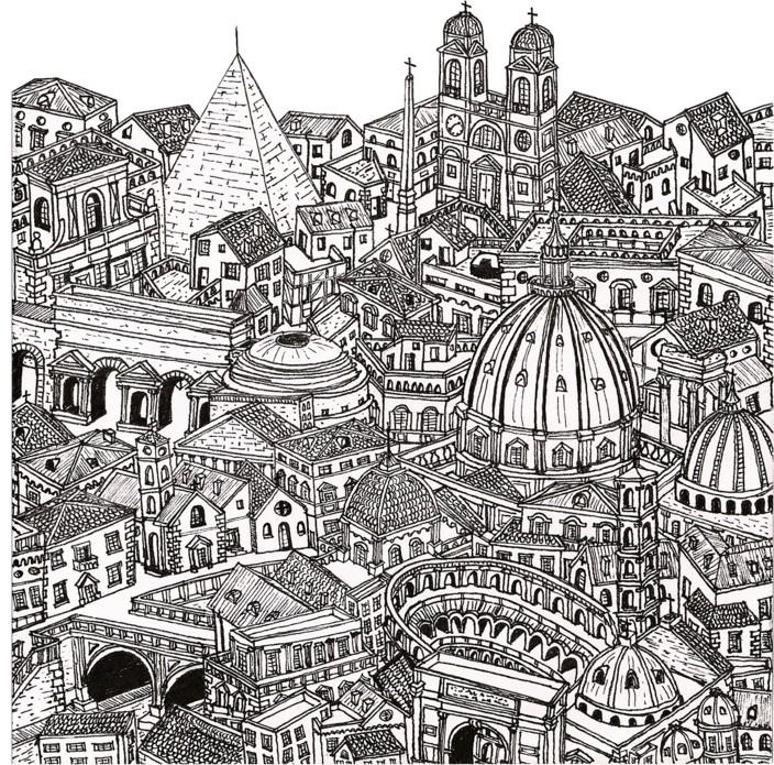Coloriage Anti Stress Italie Rome 7