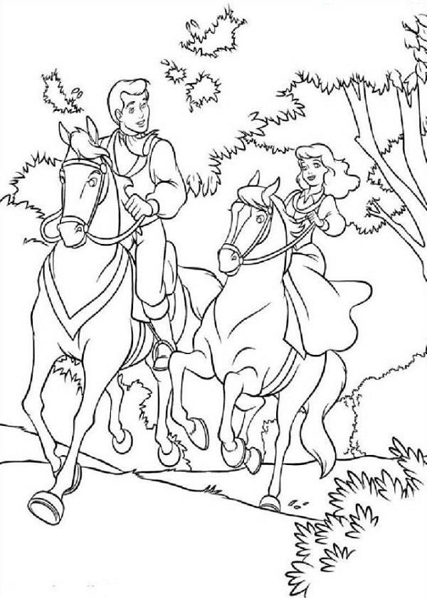 Coloriage anti-stress Princesses : Princesse à cheval 12