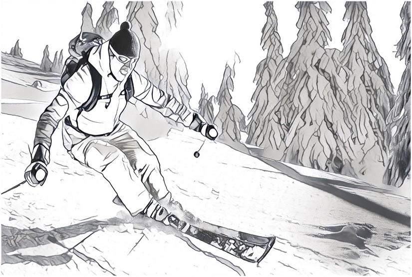 Ausmalen als Anti-Stress Berg  Skifahrer 5