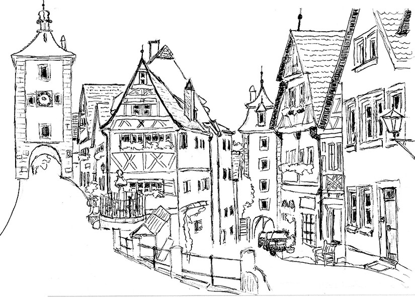 Art Therapy coloring page Germany : Rothenburg 6