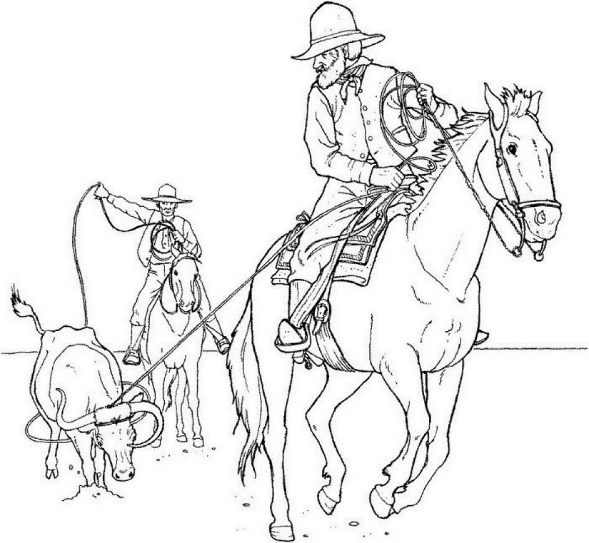 Art Therapy coloring page horses : Cowboys on horseback 14