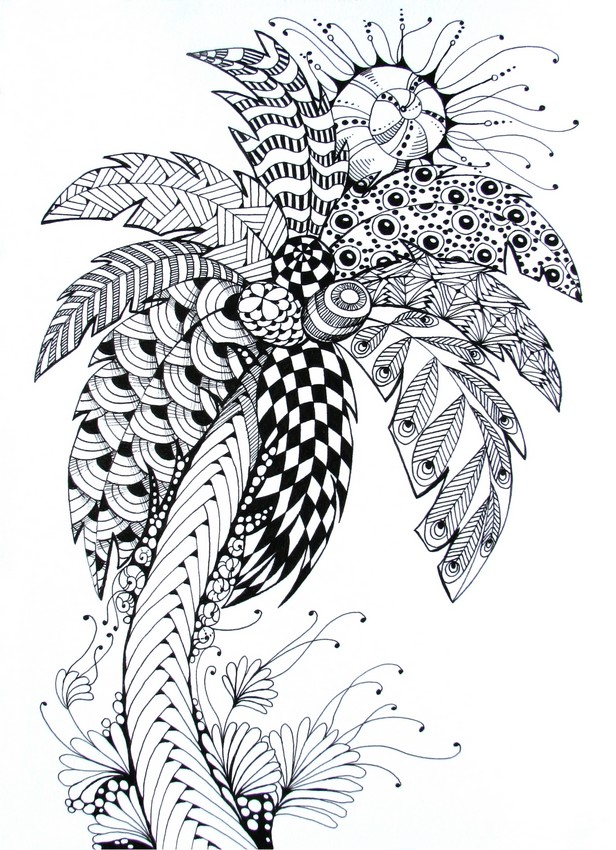 Art Therapy coloring page summer : Palm tree 8