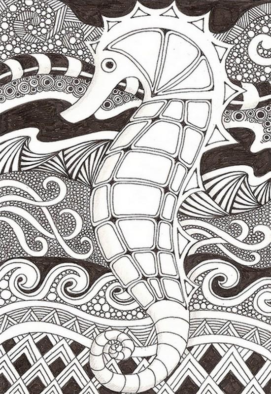 Dibujo Para Colorear Relajante Mar Hipocampo 5