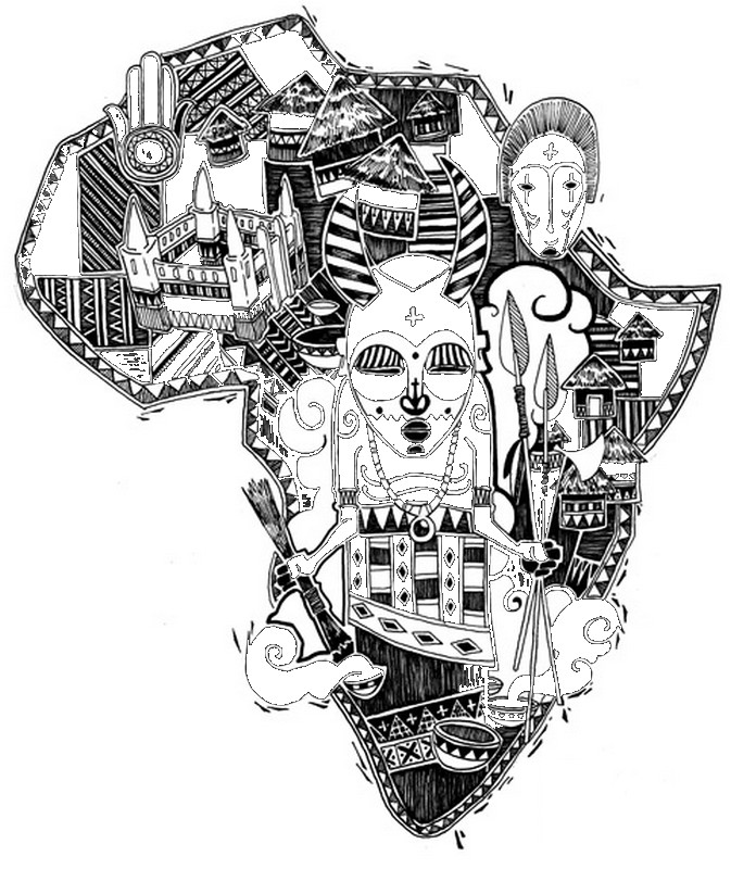 African Tribal Patterns Coloring Page