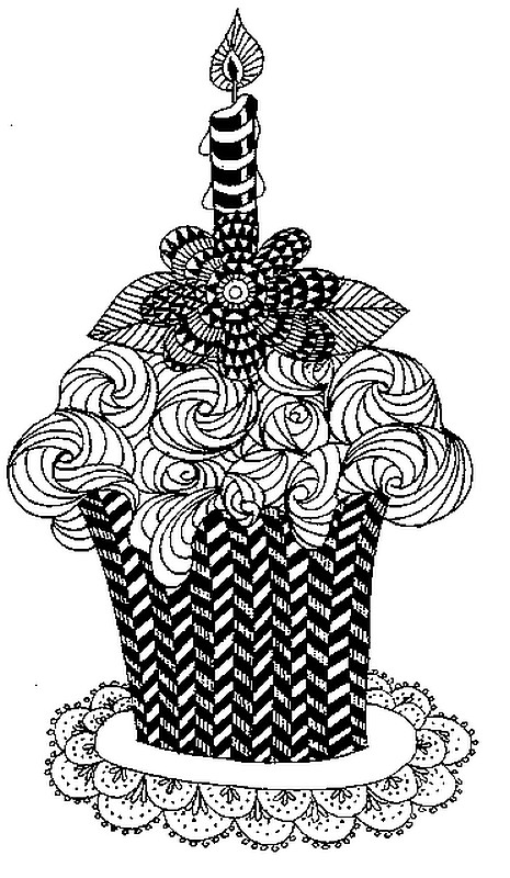 Art Therapy Coloring Page Happy Birthday Cake And Candle 4