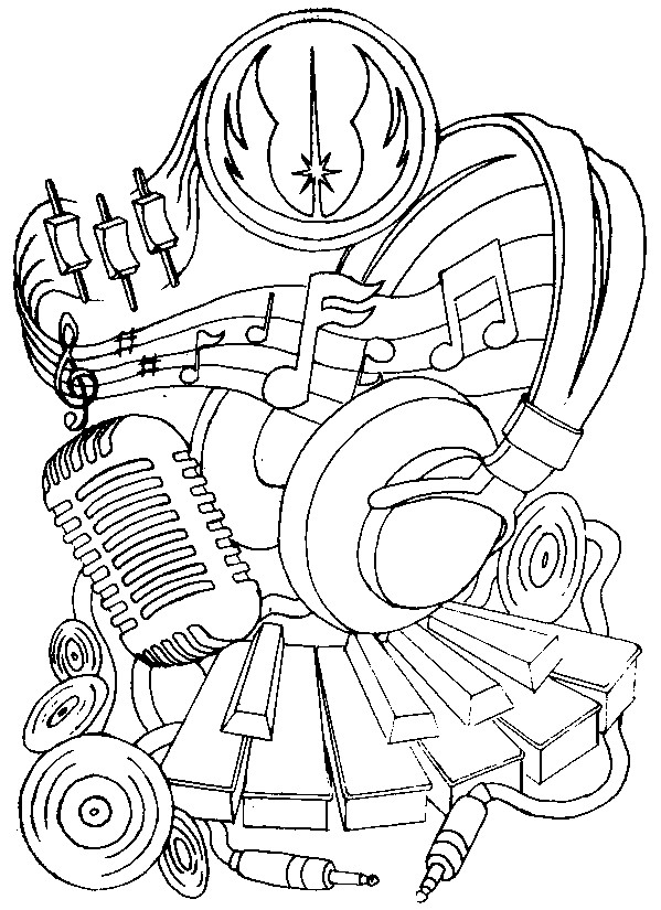 Art Therapy coloring page music : Headphones and microphone 14