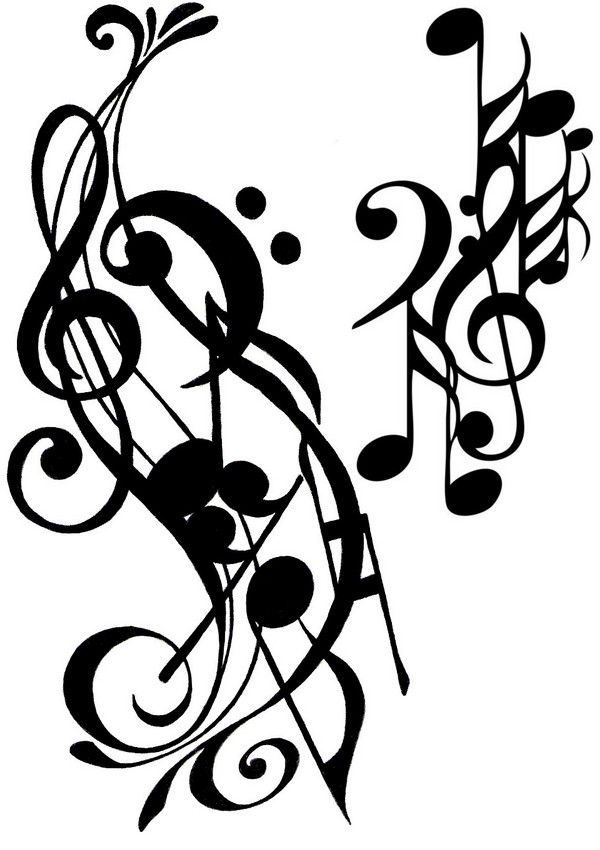 Art Therapy coloring page music : Tattoo musical notes 15