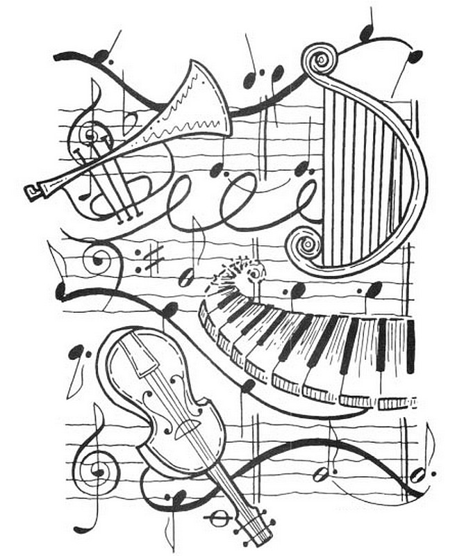 Art Therapy coloring page Music : Harp, trumpet, violin