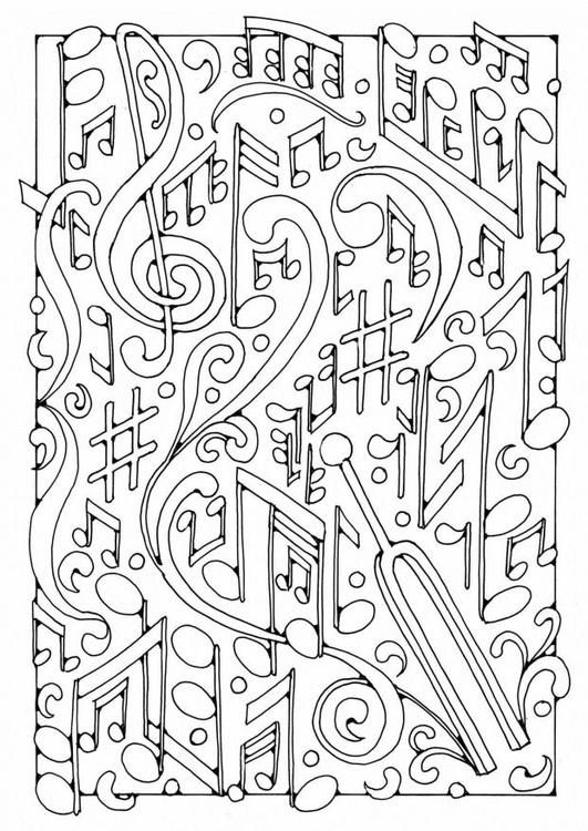 Art Therapy coloring page music : Musical notes 3