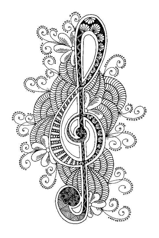 Art Therapy coloring page Music : Treble clef 6
