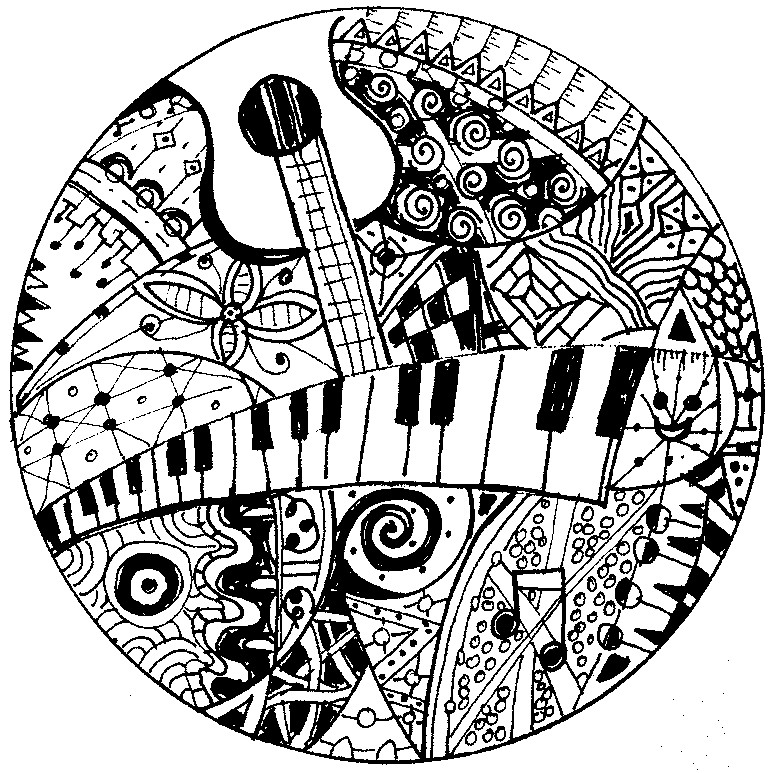 Art Therapy coloring page music : Keyboard and guitar 9
