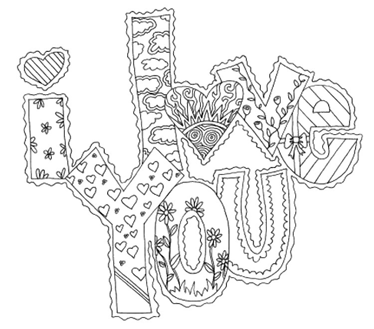 Art Therapy coloring page love : I love you 10