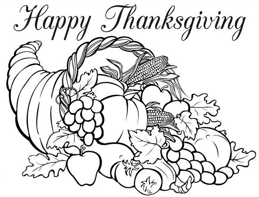 Art Therapy coloring page Thanksgiving : Horn of plenty 5