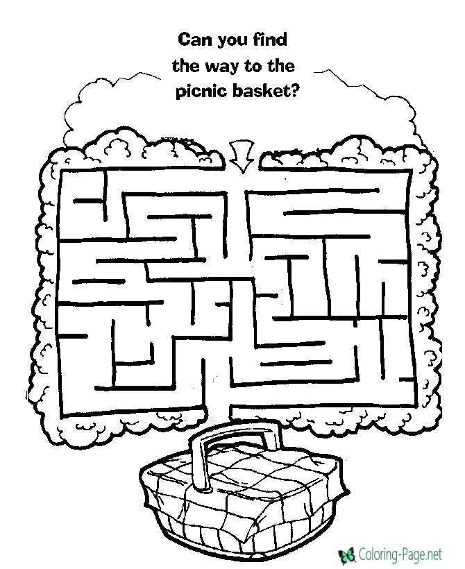 Picnic Basket Maze Printable Mazes
