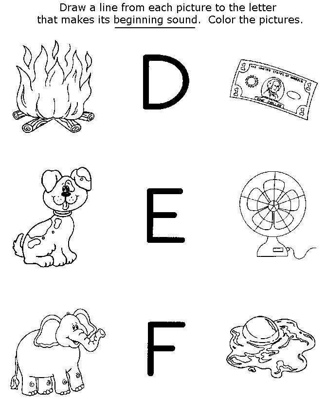 Printable DEF Preschool Worksheets