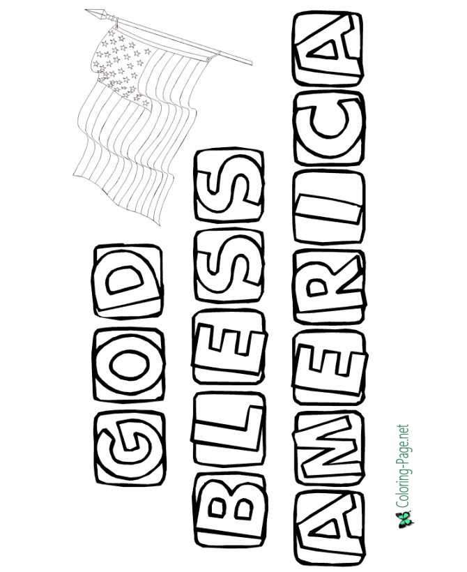 Bless America 4th of July Coloring Pages