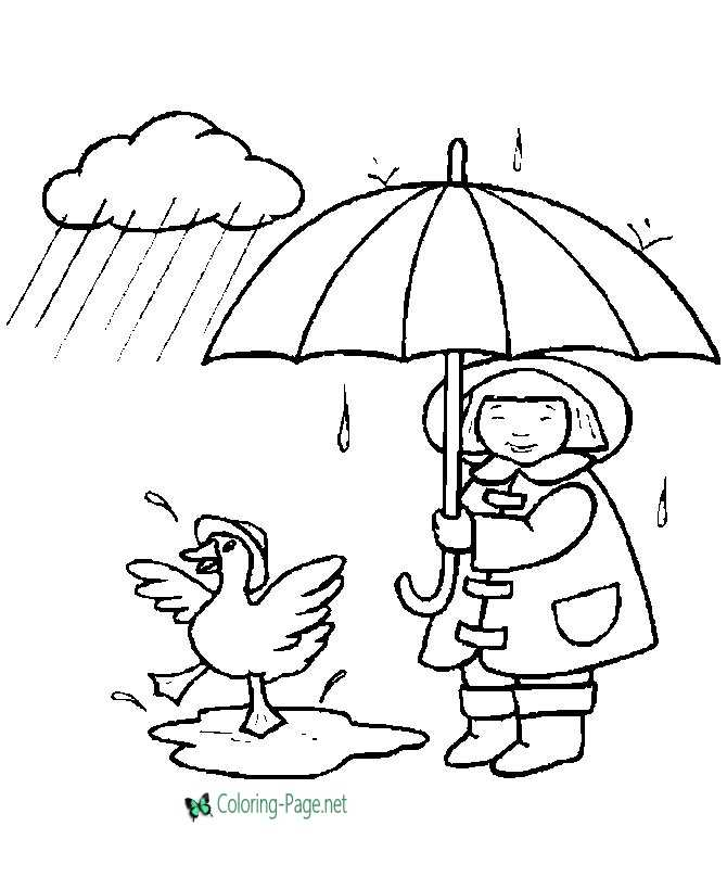 Children Coloring Pages Girl and Duck