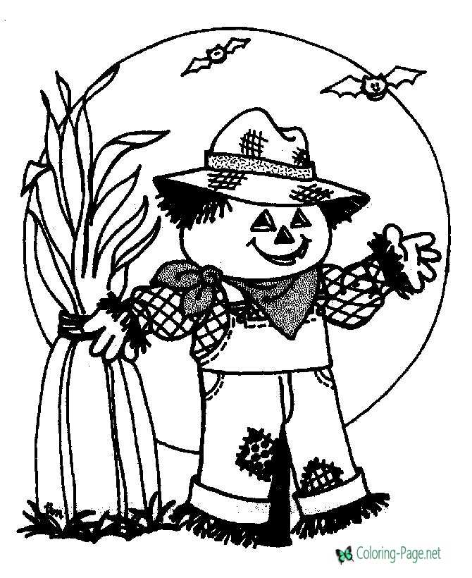 Halloween Coloring Pages Scarecrow Moon