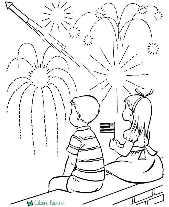Independence Day Coloring Pages Watching Fireworks
