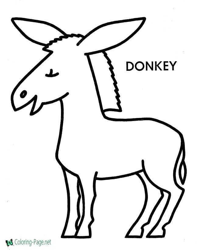 Preschool Coloring Pages Donkey