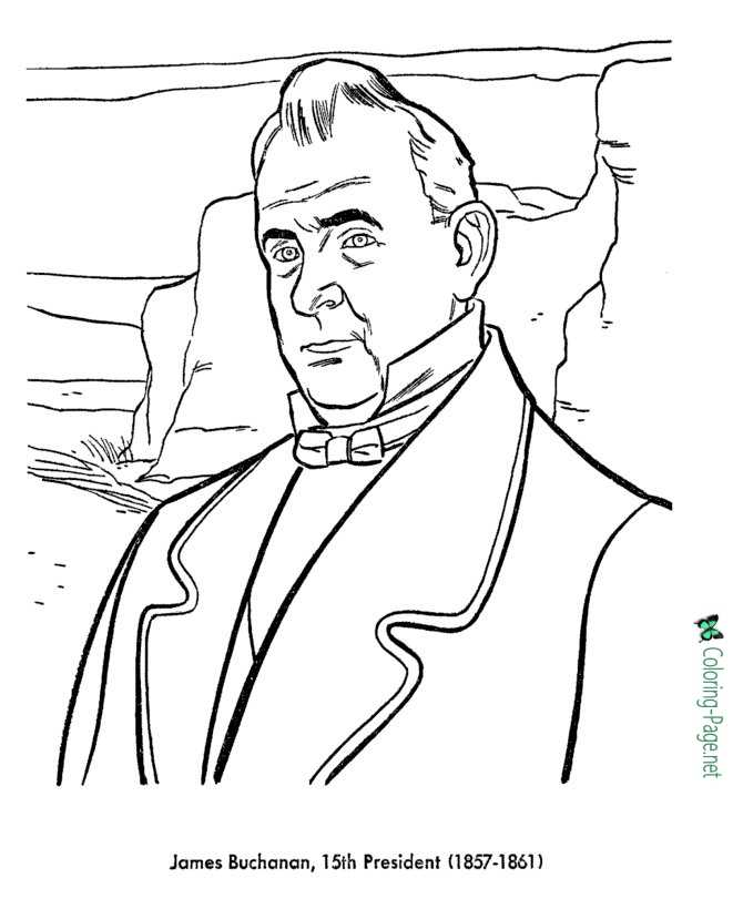 US Presidents Coloring Pages James Buchanan