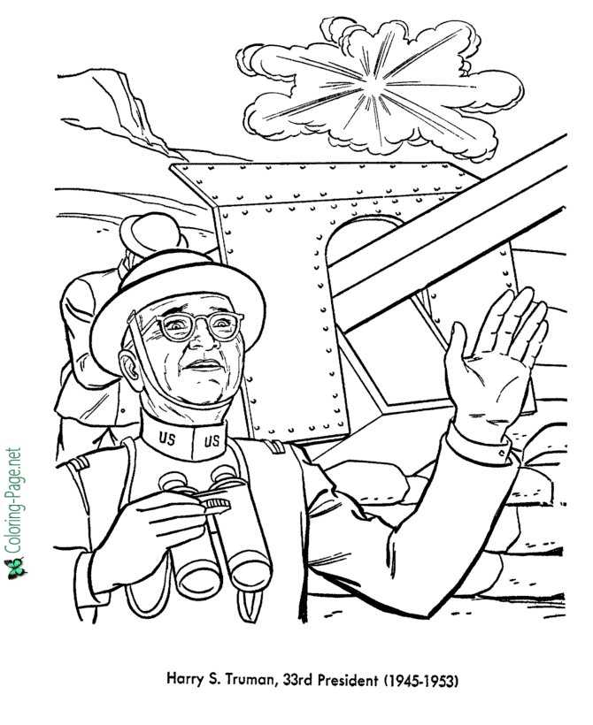 US Presidents Coloring Pages Harry S Truman