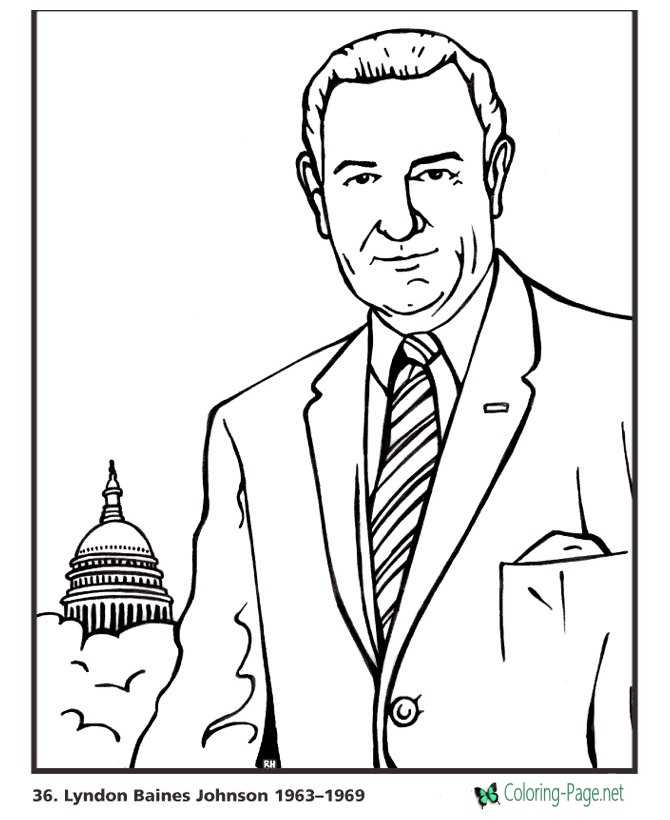 US Presidents Coloring Pages Lyndon Johnson