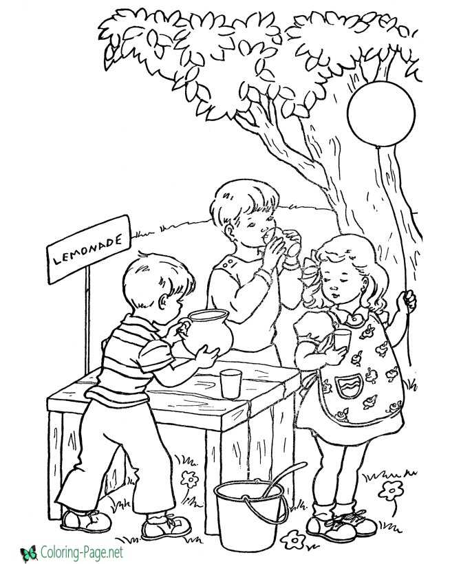 Summer Coloring Pages Lemonade Stand