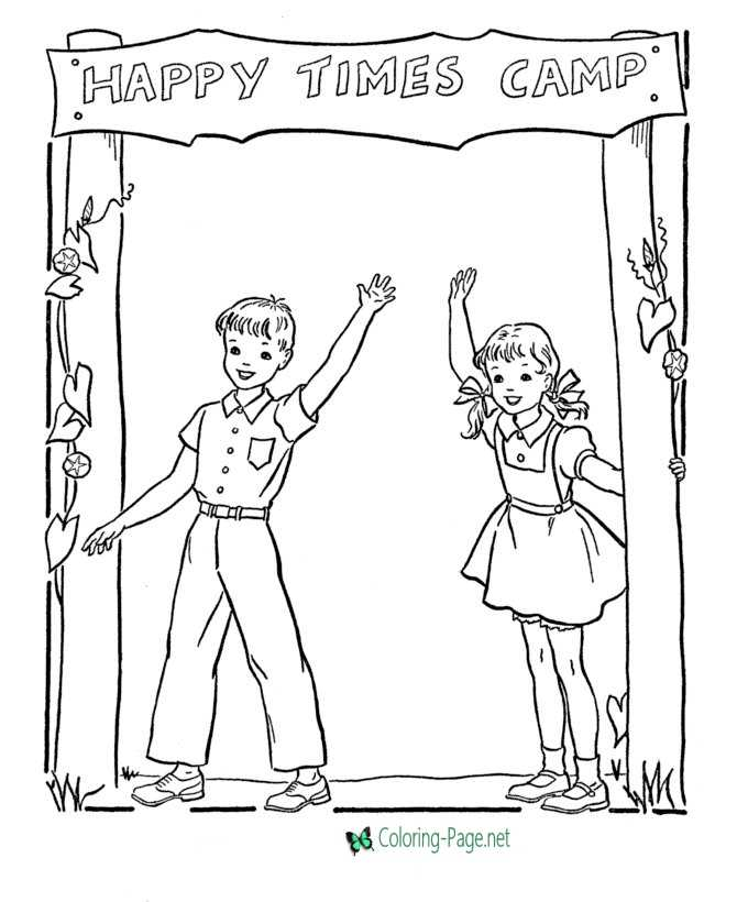 Summer Coloring Pages Summer Camp