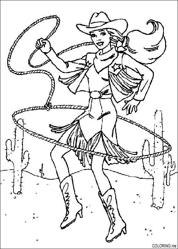 coloring page  barbie rodeo rope  coloring