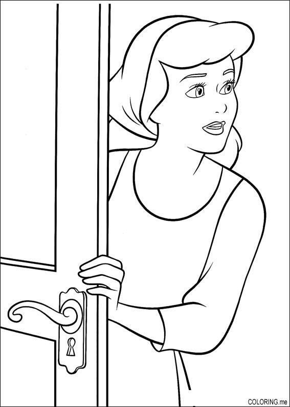 Coloring page : Cinderella looking after the windows