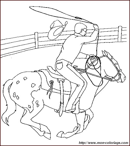 coloring Horse, page cow boy horse