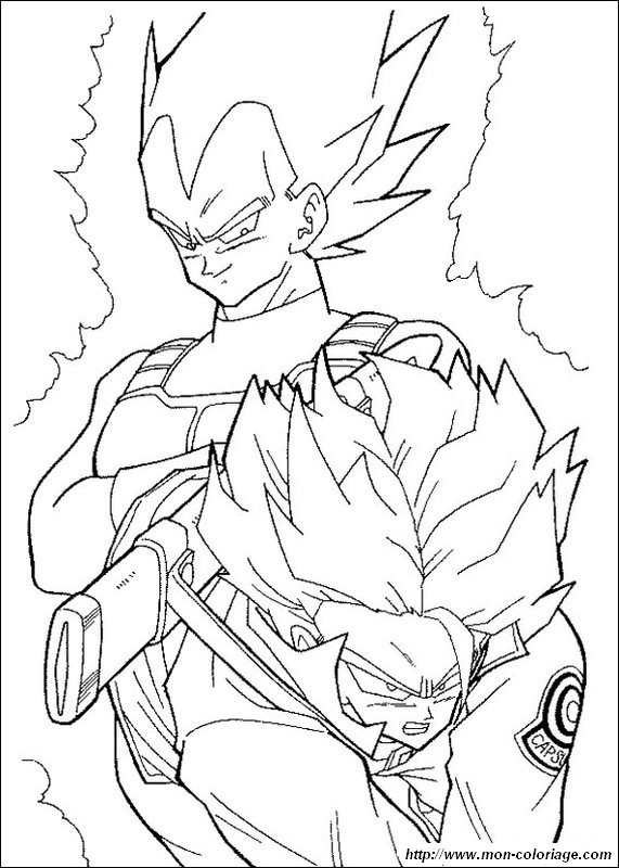 coloring Dragon Ball Z, page vegeta and trunks super saiyan