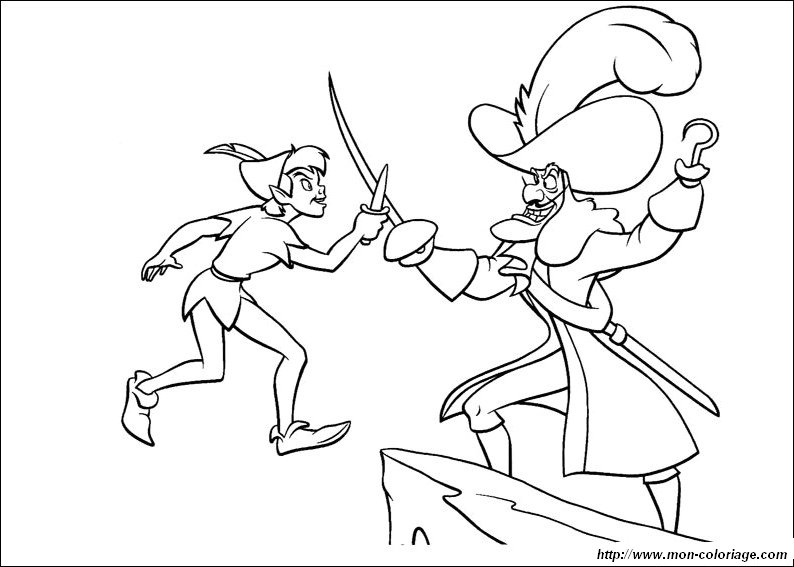 coloring Peter Pan, page captain hook and peter pan