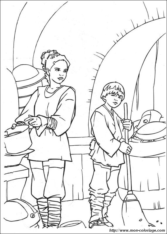 coloring Star wars, page anakin skywalker and his mom