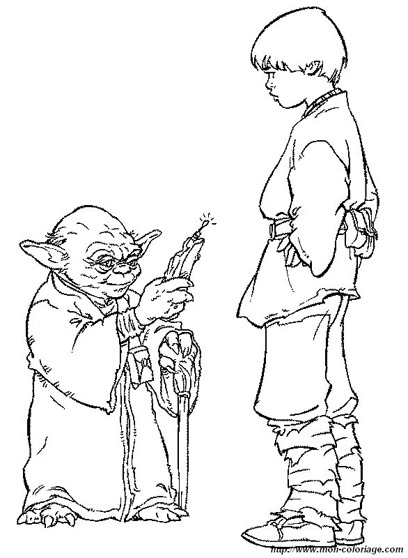 coloring Star wars, page master yoda with anakin skywalker