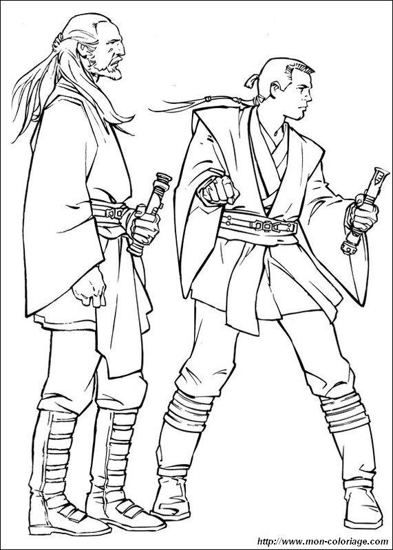 coloring Star wars, page qui gon jinn with obi wan kenobi