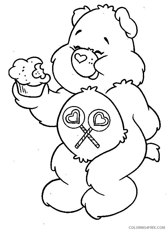 care bears coloring pages eating cupcake Coloring4free
